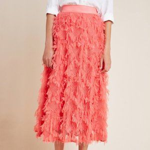 Anthropologie Cynthia Textured A-Line Midi Skirt